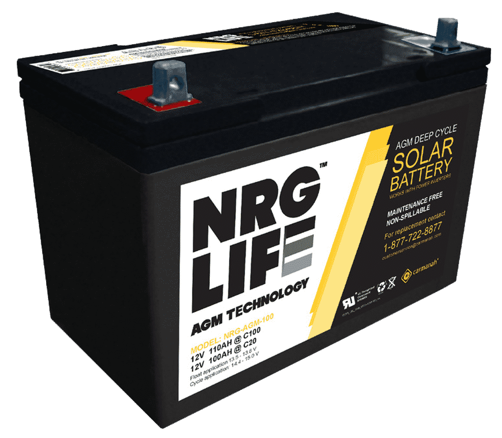 100 amp hour AGM battery for RV house battery banks.