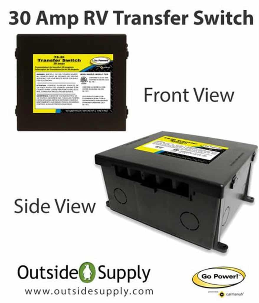 Go Power 30 amp transfer switch front and side view
